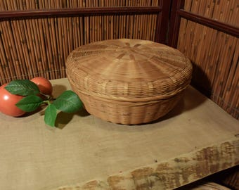 Chinese Round Bamboo Basket With Lid
