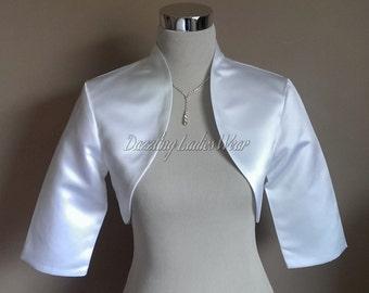 White Satin Bolero Fully Lined 3/4 Sleeves / Shrug / Jacket / Shawl - UK 4-26/US 1-22