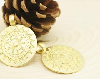 Matt Gold Plated Tribal Pendant, 32x44 mm, Talisman Pendant, Gold Pendants, Medallion Pendant, Ethnic Pendant, Round Pendant, Bzm06