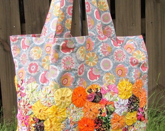 Cotton Fabric Yo-Yo Embellished Eco-Friendly Reusable Shopping Bag ORANGE BLOOMS