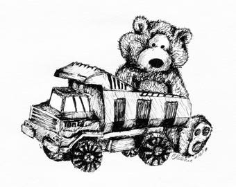Teddy playing with toy truck Ink Illustration - Children's Wall Art - Nursery Decor - Giclee Print