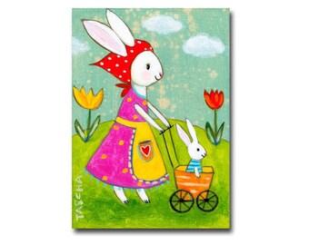 Original Bunny Painting Mama Bunny Rabbit and baby bunny cute white rabbit painting by Tascha