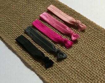 Pink and Black Hair Tie Set   Elastic Hair Tie   Creaseless Hair Tie   Bulk Hair Ties   Hair Tie Favor   FOE Hair Tie   Hair Tie Bracelet
