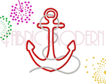 Anchor embroidery with rope applique' Machine Embroidery Design nautical machine embroidery designs bx file  #351