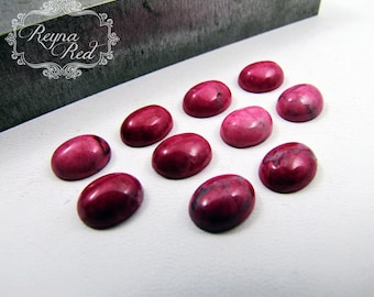 Bright Pink Dyed Regalite Oval Cabochons, wire wrapping, pink cabochon, cabochons for setting, jewelry making, beading - reynaredsupplies