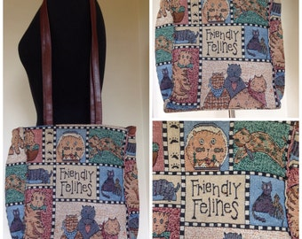 Vintage friendly felines kitty cat tapestry bag with long handles