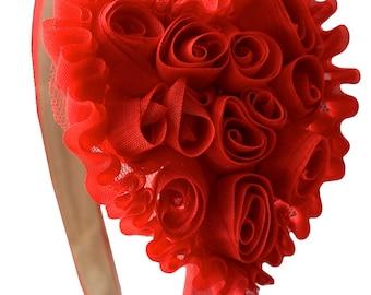 Girls Shabby Chiffon Rosette Heart Satin Headband - Valentine's Day Hair Accessory