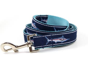 Matching Marlin Leash // S-L Leash // Pattern: Woven Marlins on Navy Blue