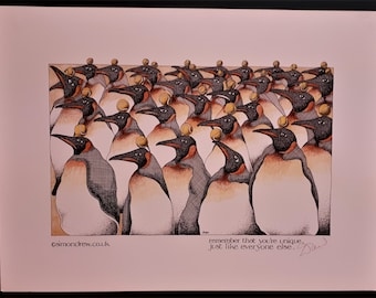 Simon Drew You're Unique penguin LARGE print signed art BNIB Humorous gardening lawyer husband man solicitor wife wildlife outdoor art  Gift
