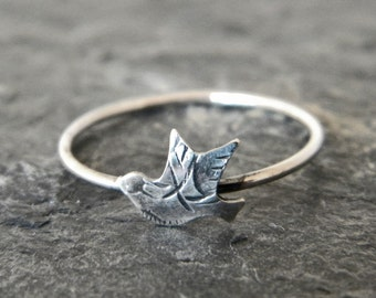 Silver Bird Ring - Nature Ring - Silver Stacking Ring - Bird Jewelry - Nature Jewelry - Silver Stack Ring - Womens Ring - Serendipity