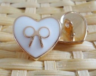 Wholesale  lot 30pcs heart shape with bow Metal  Button for DIY Craft, sewing 18mm