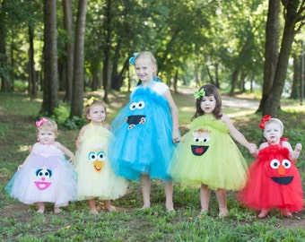 Elmo Cookie Monster Sesame Street Inspired Costume Tutu Dress for Birthday Parties, Dress up and more