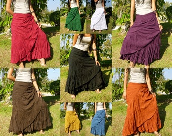 Gypsy Wrap Skirt Flamenco Skirt Women Gypsy Skirt Tribal Skirt Bohemian Wrap Skirt Hippie Skirt Bohemian Skirt Festival Free Shipping * SS