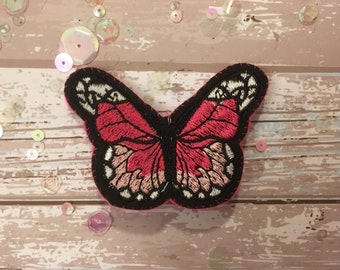 Hot Pink and White Handmade Butterfly Brooch/Pin