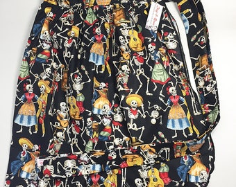 Half Apron - Vintage Pin Up Skirt Style - Calaveras