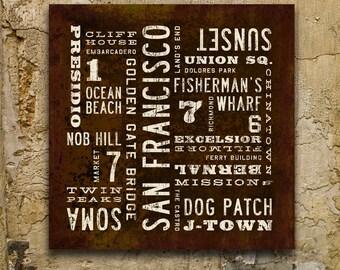 SAN FRANCISCO Art, City Art, San Francisco Poster, Subway Art, Industrial Wall Decor, San Francisco Wall Art, Typography Art, Travel Art.