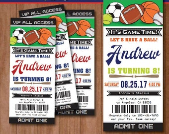 All Star Sport Birthday Invitation-SELF-EDITING Sport invitation-All Star Party Ticket-Football-Baseball-Basketball-Soccer-Tennis-A136-B