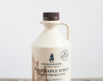 Pure Organic Maple Syrup, 1L. Unblended & Single Forest from Quebec, Canada.