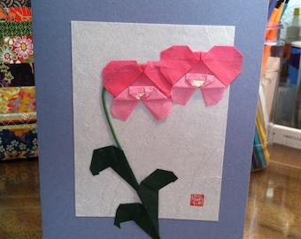 Handmade Origami Orchid Flower Greeting Card