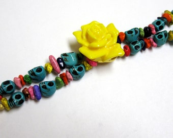 Sugar Skull Bracelet Day Of The Dead Jewelry 2 Strand Blue Pink Yellow Rose