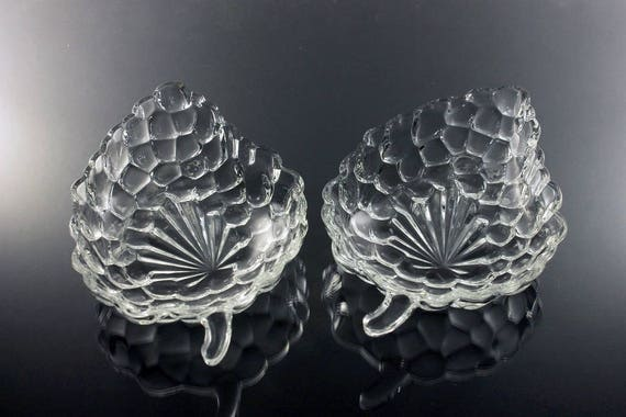 Relish Dishes, Anchor Hocking, Bubble Clear, Grape Cluster Shape, Clear Glass, Set of 2