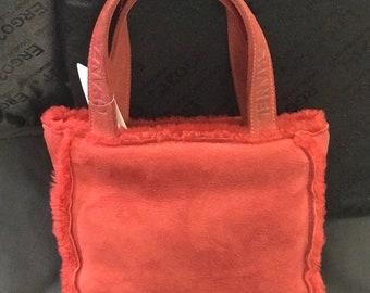 Chanel Red Shearling Mini Handbag
