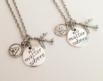 Set 2 airplane necklaces - no matter where necklaces - initial necklaces - personalized necklace - friendship necklace - gift