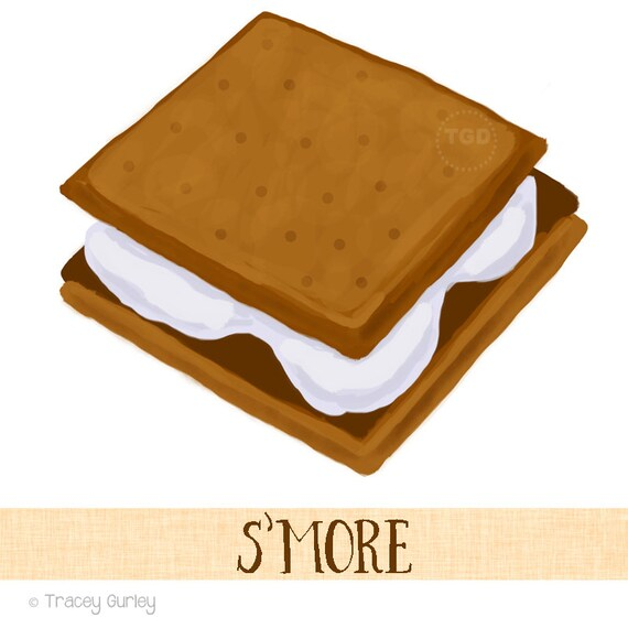 s more clip art original hand painted clip art rh etsy com s'mores clipart S'mores with Face