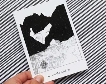 Carte postale  / Postcard / On the road / Black & white