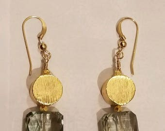 Green amethyst and gold vermeil earrings