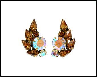 Aurora Borealis & Amber Rhinestone Earrings, Amber Teardrops, AB Ear Climbers, Ear Huggers, Amber Earrings, Mothers Day Gift For Her