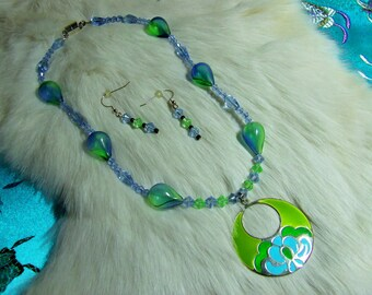Blown glass and Blue Crystal Necklace  09-07