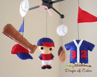 "Baby Crib Mobile - Baby Mobile - Baseball Mobile - Boy Mobile - Crib Mobile ""Baseball Champion""(You can pick your colors)"