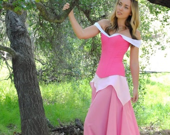Sleeping Beauty Aurora Inspired Overbust Steel Boned Corset Ball Gown Costume - Adult