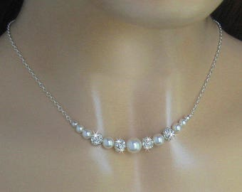 Bridal Pearl Necklace, Pearl and Rhinestone Necklace For the Bride, Rhinestone Ball and Pearl, Bridal Pearls Wedding Necklace Bridal Jewelry