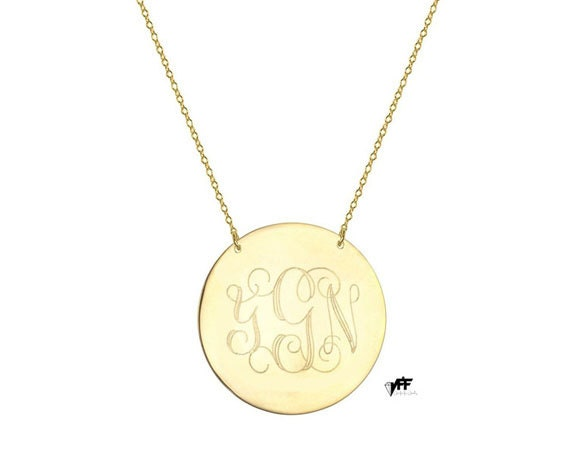 14k gold monogram disc necklace choose any initials in yellow mozeypictures Choice Image