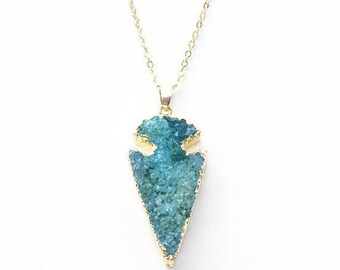 Steel Blue Arrowhead druzy Necklace