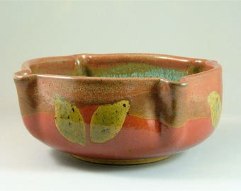 Thrown and Altered Pottery Bowl - Red, Brick Red, and Turquoise Green