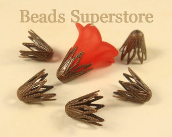 9.5 mm x 9 mm Antique Copper-Plated Brass Cone Shape Bead Cap - Nickel Free, Lead Free and Cadmium Free - 20 pcs