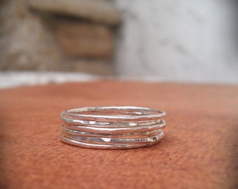 Hammered Stack Rings- Set of 6 hammered sterling silver rings