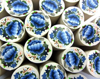 """Polymer clay milefiore canes. 1"""" wide. Detailed bouquet flowers"""