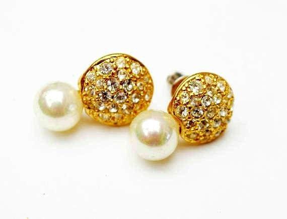Rhinestone Pearl earrings - signed Roman  - Clear crystal - White - Gold - Pirced earring
