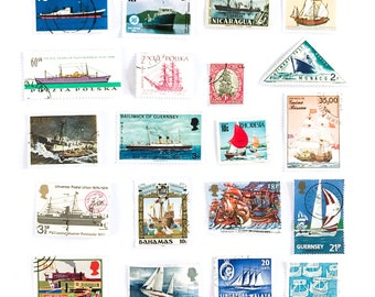 20 x Ships and boats nautical themed used postage stamps - all different, from 14 countries, off paper - craft, stamp collecting, scrapbook