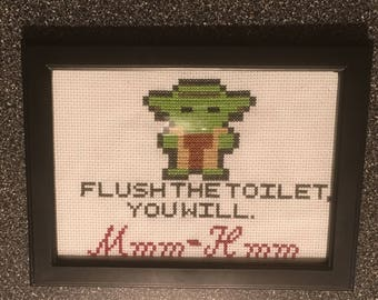 Finished Cross Stitch Yoda