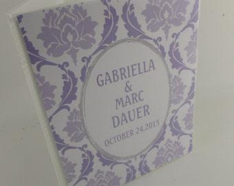 Wedding Photo Album 4x6 or 5x7 personalized Engagement Anniversary wedding photo book bridal shower gift purple damask 473