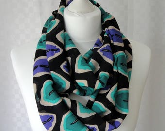 Abstract melons print infinity scarf, Circle scarf, Print scarf, Scarf for her, Lightweight scarf, Fashion scarf
