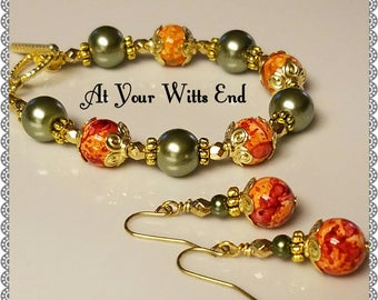 Fall Bracelet, Fall Earrings, fall jewelry, bracelets, jewelry