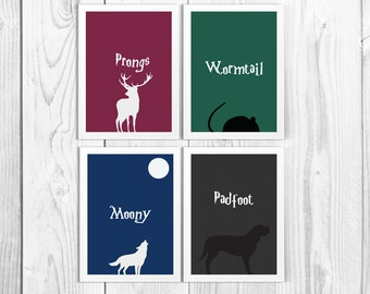 Marauders Map Creators Minimalist Print Set - Harry Potter - Padfoot - Moony - Prongs - Wormtail (Available in many sizes)