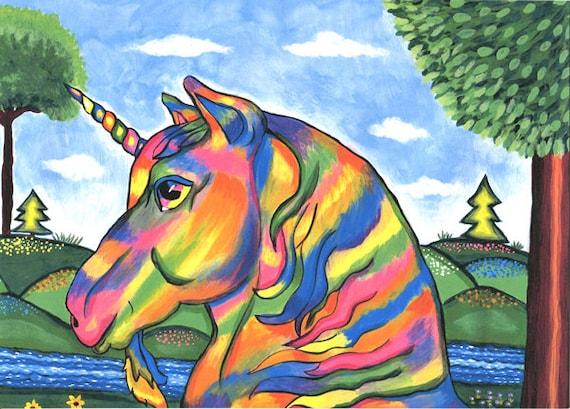 rainbow unicorn horse, original art print, abstract folk art painting ladscape trees flowers fantasy artwork modern wall art