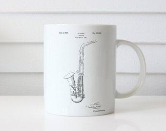 Saxophone Patent Mug, Jazz Mug, Music Mug, Band Director, Vintage Music, PP0773